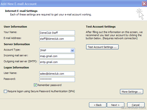 setting up google app email on outlook - web hosting australia
