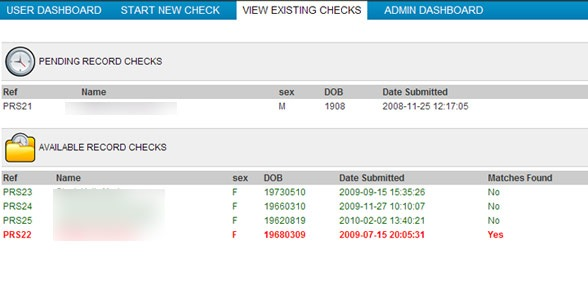 Tracking Applicant History - Record Check
