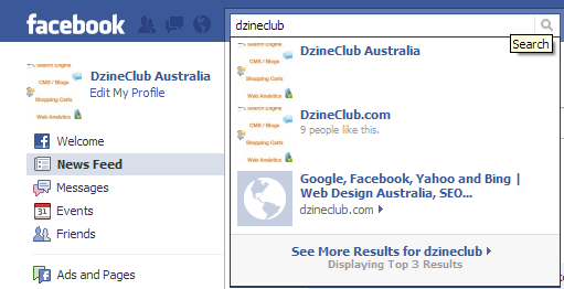 Facebook Powered Search Box