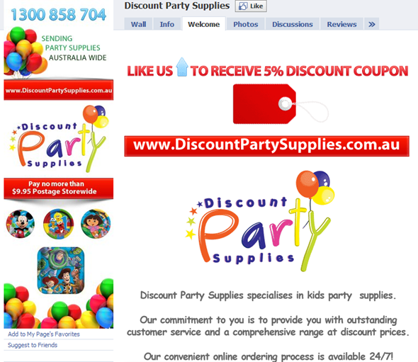 Facebook Fan Page for Discount Party Supplies