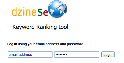 Keyword Ranking Tool Login Screen