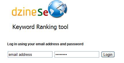 Keyword Ranking Tool Login Screen