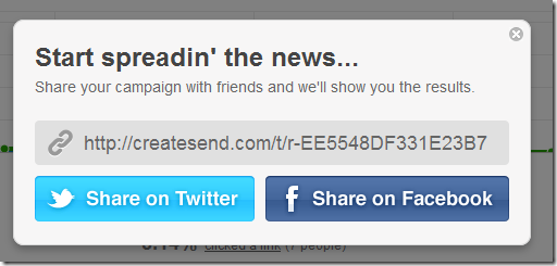 tweet email campaign or share on facebook