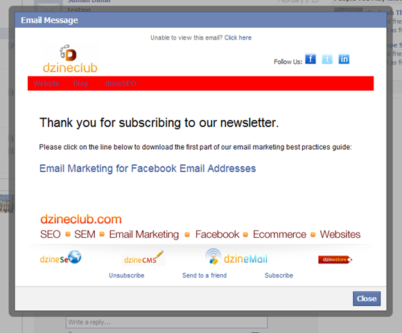 Email marketing @facebook.com address