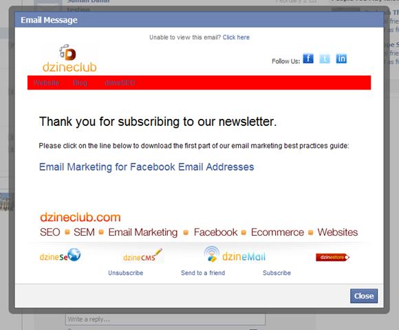 Email marketing @facebook.com address