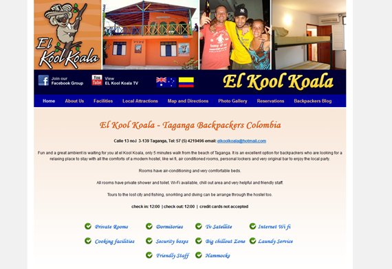 El Kool Koala Backpackers WordPress Website